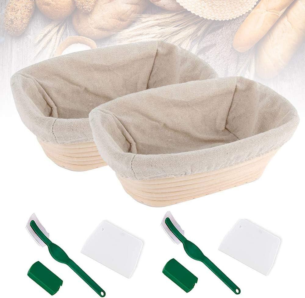 "2PCS Bread Banneton Proofing Basket 10"" Oval Bread Proving Rising Baskets Bowl Set for Dough Baking Gifts for Artisan Bread Making Starter Homemade"