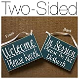 Prim and Proper Decor Double Sided Welcome Please Knock In Session Please Do Not Disturb 8x6 (Choose Color) Spa Salon Wood Open Closed Rustic Custom Sign Office Door Hanger