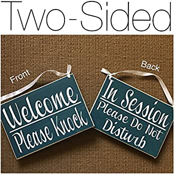 amazon com double sided welcome please knock in session please do