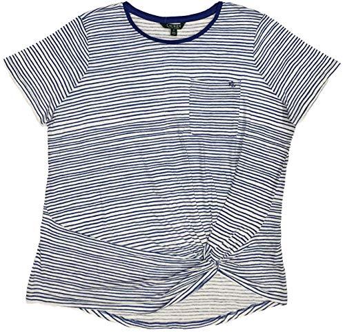 (LAUREN RALPH LAUREN Womens Plus Size Striped Knot Front T-Shirt (White/Blue, 2X))