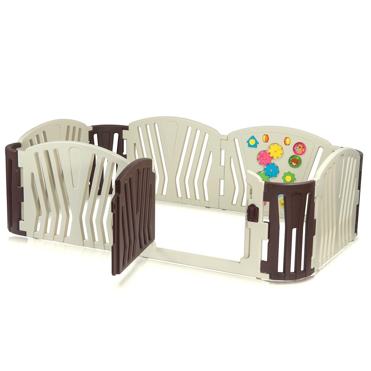 Baby Vivo Laufgitter Laufstall Baby Absperrgitter Krabbelgitter Schutzgitter für Kinder aus Kunststoff mit Tür und Spielzeug - Brown
