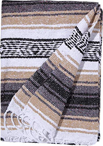 El Paso Designs Genuine Mexican Falsa Blanket - Yoga Studio Blanket, Colorful, Soft Woven Serape Imported from Mexico (Beige) by El Paso Designs (Image #1)