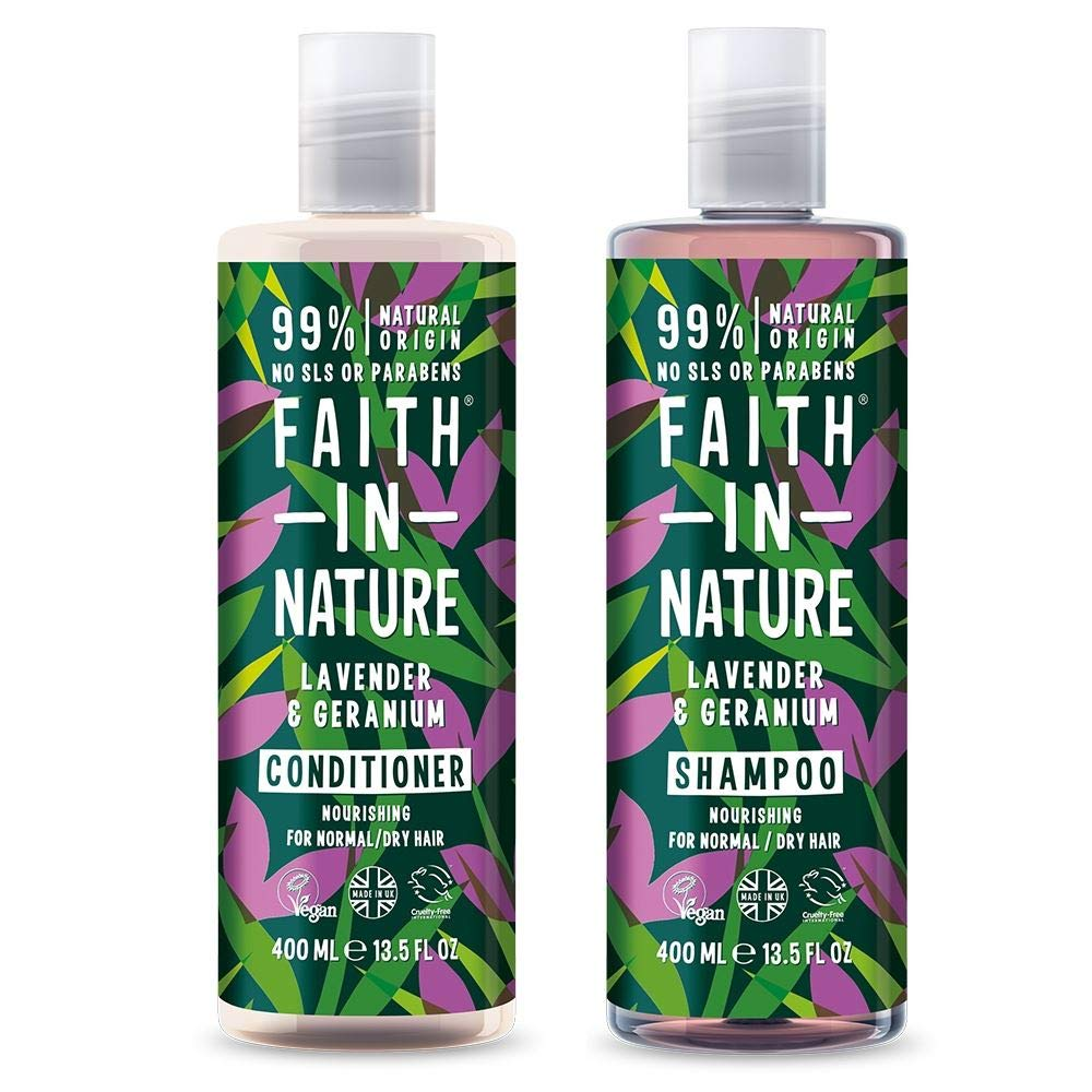 Faith In Nature Lavender & Geranium Shampoo 400ml & Conditioner 400ml Duo | Vegan | Cruelty Free | 99% Natural Fragrance | Free From SLS or Parabens