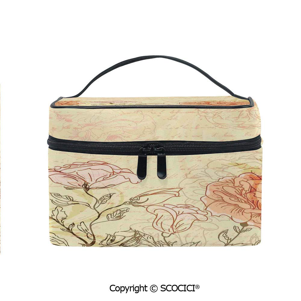 Printed Portable Travel Makeup Cosmetic Bag Double Exposure Background Roses and Lettering Love Words Once Upon A Time Theme Durable storage bag for Women Girls