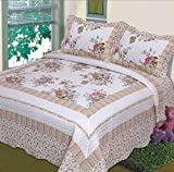 Fancy Collection 3pc Bedspread Bed Cover Floral Off White Green Purple Green Pink (California King)