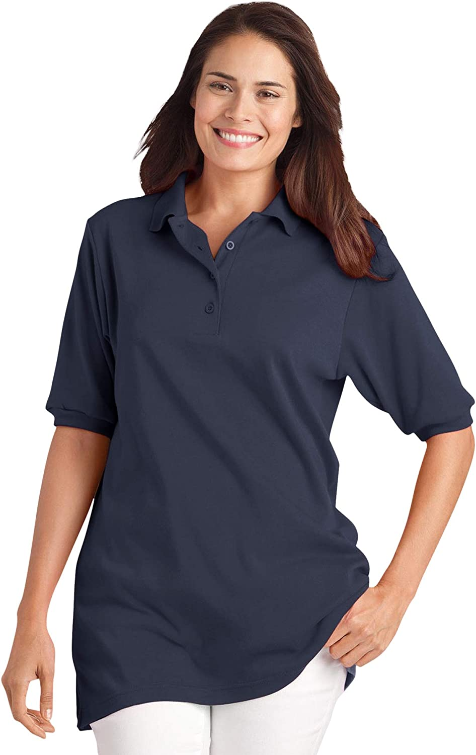 Woman Within Women's Plus Size Elbow-Sleeve Polo Shirt at  Women's Clothing store