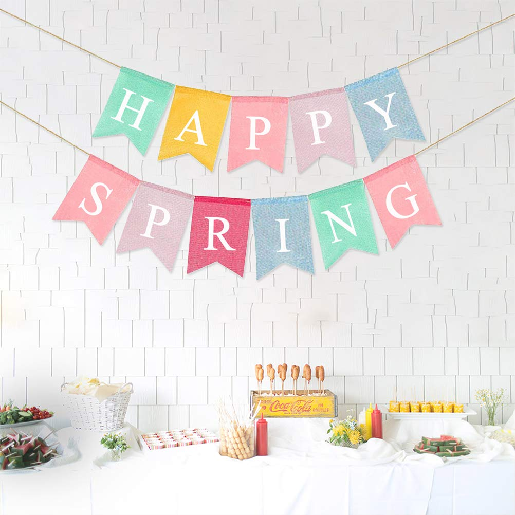 BESTOYARD Happy Spring Letters Bunting Banner Decorative Colorful Linen Burlap Banner Swallowtail Pull Flag Party Supplies