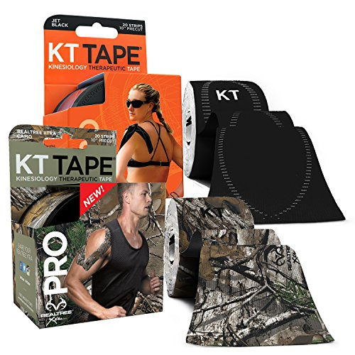 KT Tape PRO Synthetic Kinesiology Tape Two-Roll Bundles - 40 Count Precut I-Strips - Realtree Camo & Jet Black