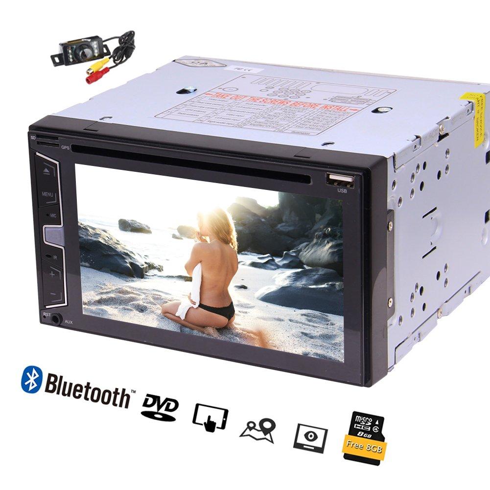 フリーカメラ! AUX / SWC /ダブルブルートゥース/ DVD / AM / FM / USB / TFとディンカーステレオカーラジオの新3 UIひるみスタイルオペレーションシステム6.2インチの容量性タッチスクリーンGPSナビゲーション車のビデオ B079K65HC4