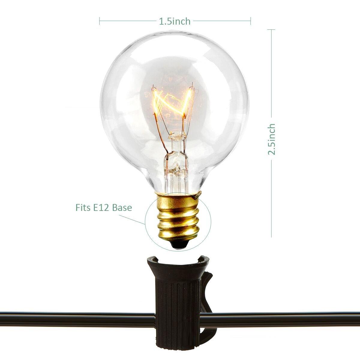 Amazon.com : Patio Lights Party String Lights G40 Globe Bulbs Warm ...