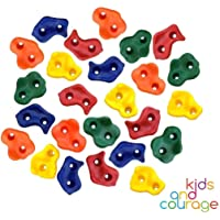 Ruby's Creations Kids and Courage 25 Textured Rock Climbing Holds For Kids With Installation Hardware - Climbing Grips For Your DIY Rock Stone Wall