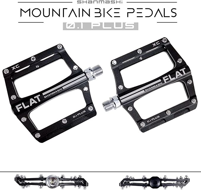 SMS Aluminum XC AM Mountain Road Bike 4 Bearings Pedals flat Bicycle Pedal Black