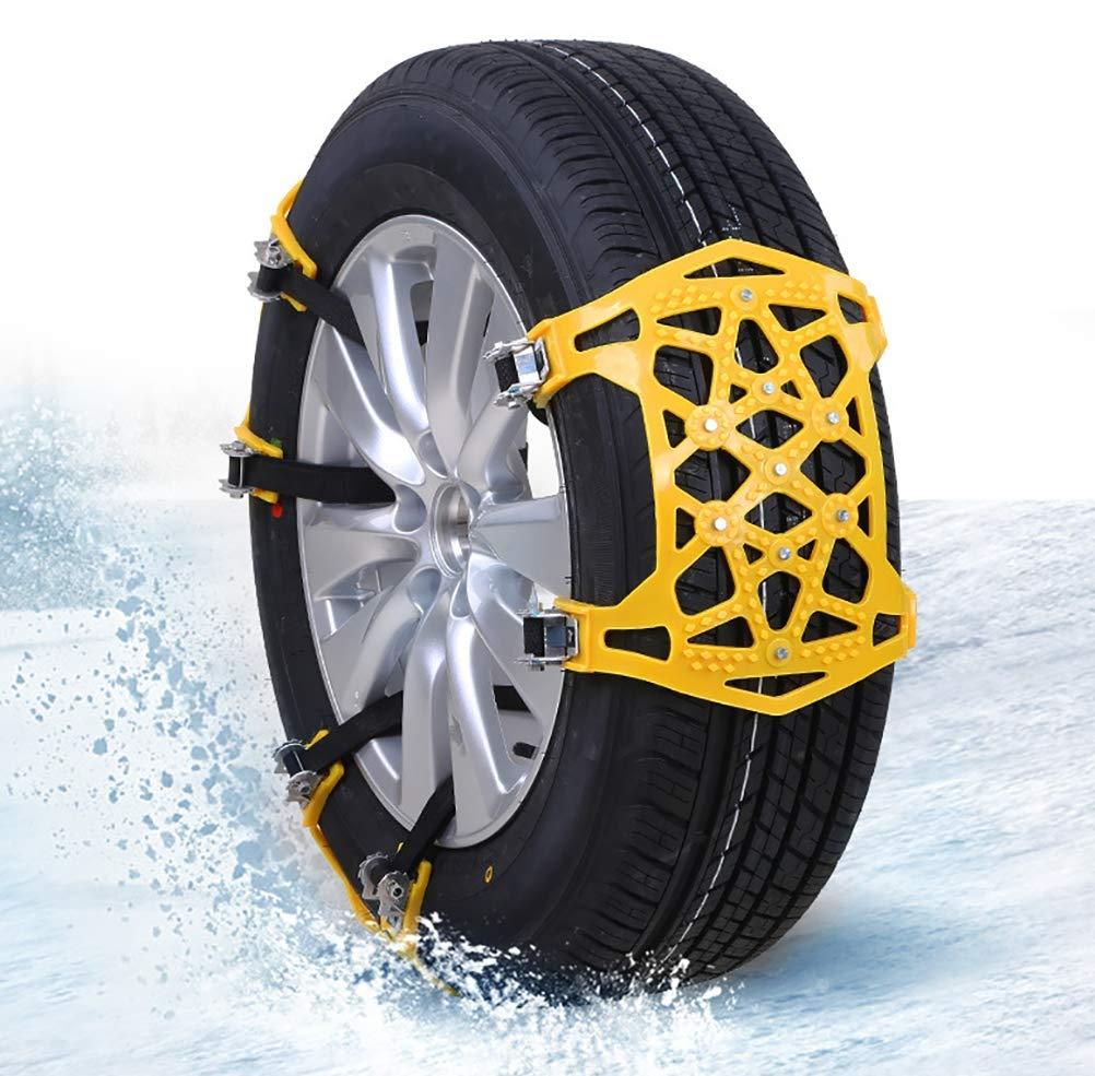 QINUO Cadena de Nieve, 6er Universal Cadenas Coche Antideslizante de Neumático de Nieve Chains para la Mayoría de Automóvil/SUV/Camión: Amazon.es: Deportes ...