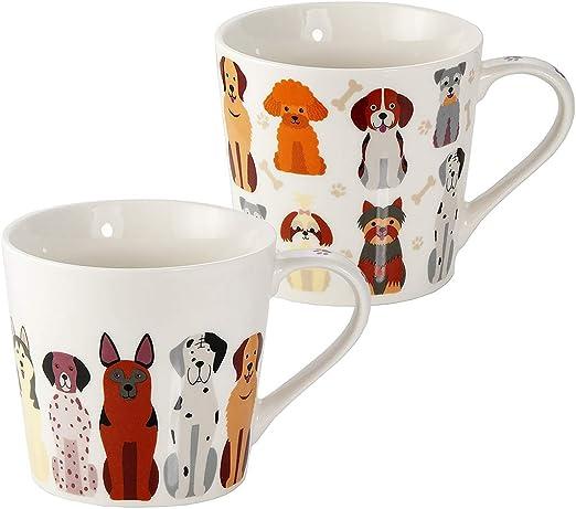 SPOTTED DOG GIFT COMPANY Juego de 2 Tazas Desayuno Originales de Porcelana Fina, Taza de Café Grandes con Diseño de Perros, Regalo para Mujer y Hombres Amantes de los Perros: Amazon.es: Hogar