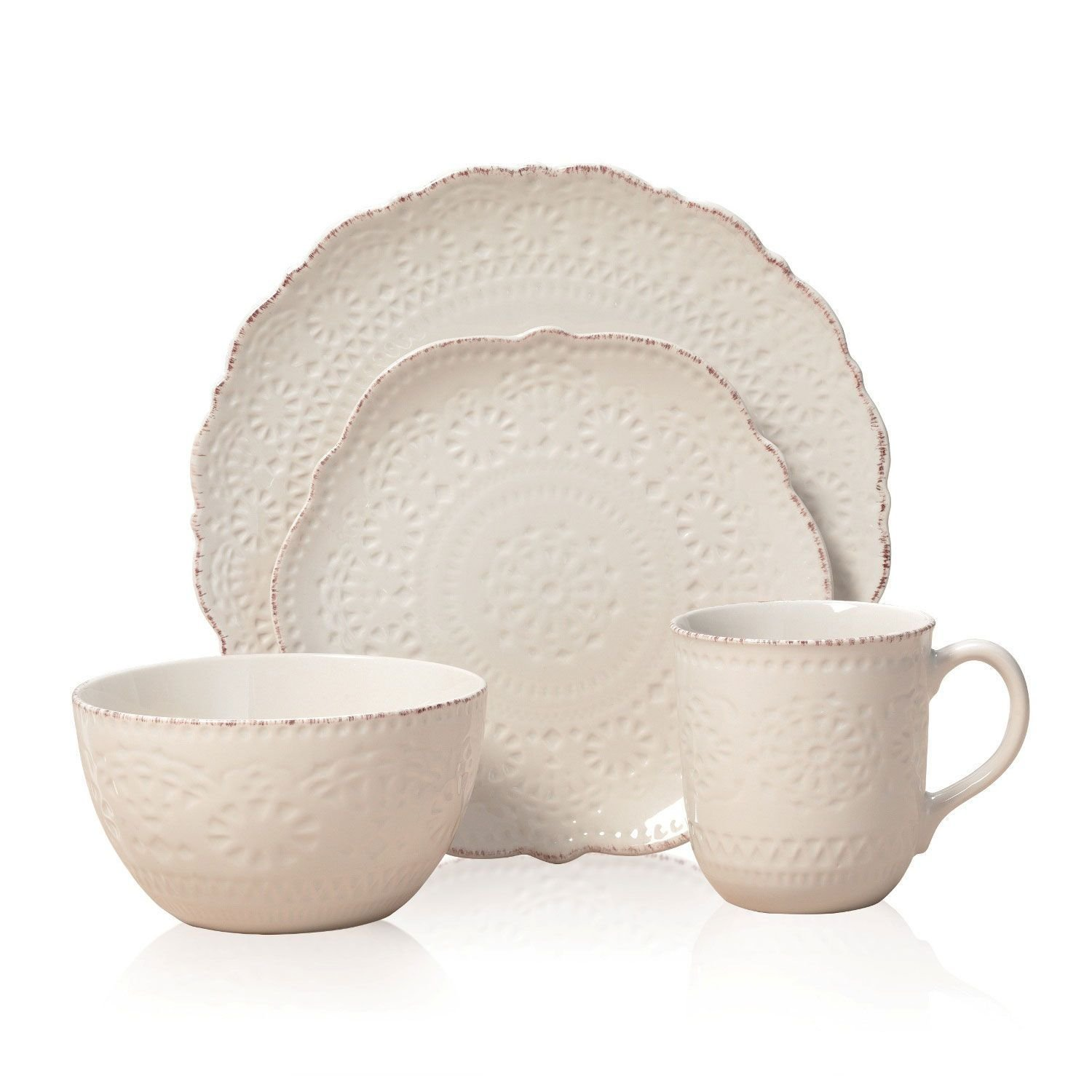 Marseilles Cream Lace 16-Pc Dinnerware Set