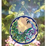 "Bits and Pieces Peacock Art Glass Suncatcher - The majestic peacock is captured in an artistic suncatcher - A striking gift 9-7/8"" in diameter"