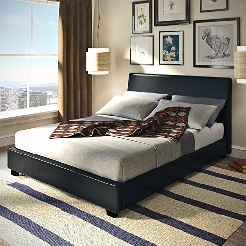 Sonax CorLiving San Diego Leatherette Upholstered Queen Bed in Black
