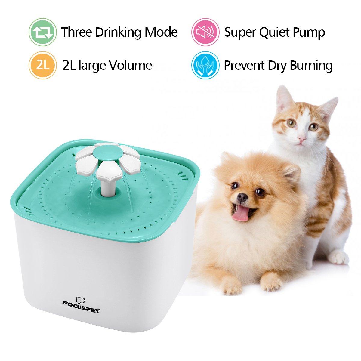 FOCUSPET Cat Fountain, 2L Pet Flower Fountain Automatic Electric Pet Water Dispenser, Pet Health Caring Fountain with Filter Suitable for Cats, Dogs and Small Animals