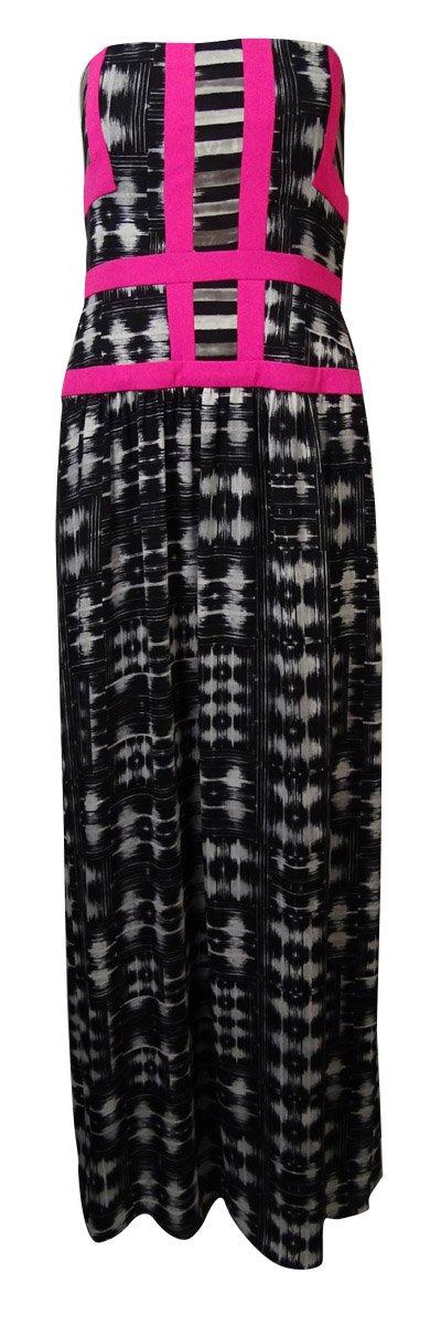 BCBGMAXAZRIA Women's Gracelyn Strapless Chiffon Dress (8, Black/White)