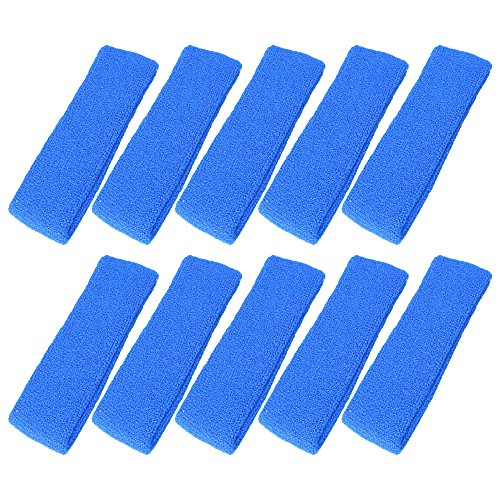 Mallofusa ® 10 PCS Cotton Sports Basketball Headband / Sweatband Head Sweat Band/brace Gift Party Outdoor Activities (Blue)