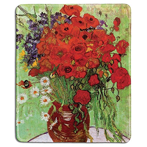 dealzEpic - Art Mousepad - Natural Rubber Mouse Pad with Famous Fine Art Painting of Red Poppies and Daisies by Vincent Van Gogh - Stitched Edges - 9.5x7.9 inches