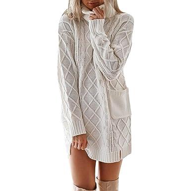 873664632a3 Robe Pull Oversize en Maille à Col Roulé