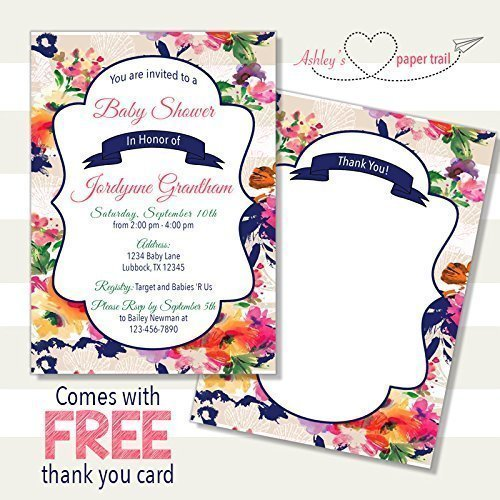 Striped Tropical Floral Baby Shower Invi - Elegant Baby Shower Invitations Shopping Results