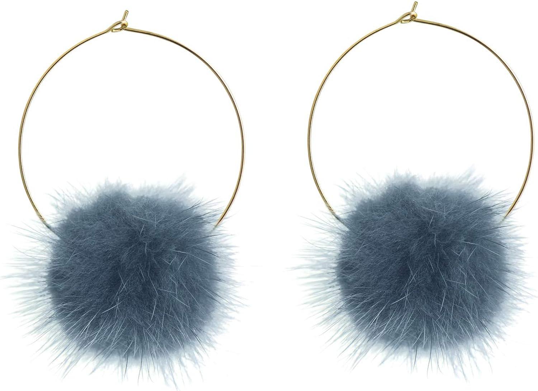 Fashion Women PomPom Hoop Earrings 32mm Ball  Long Dangle Drop Earrings Jewe#P