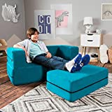 Jaxx Zipline Kids Loveseat / Flip Open Lounger & Large Ottoman, Big Kids Edition, Teal