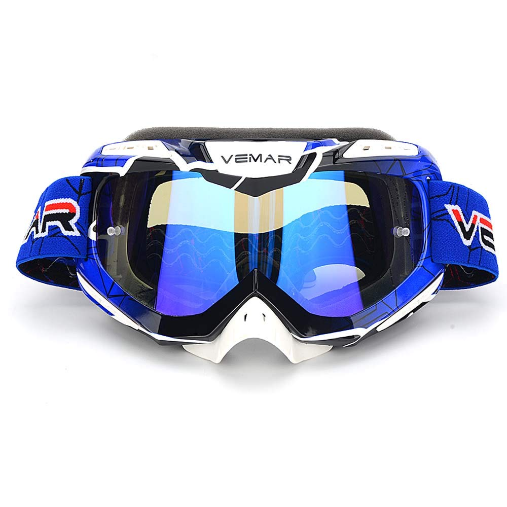 Motorcycle Motocross Goggles, ATV Dirt Bike Off Road Racing MX Riding Ski Snowboard Goggle Bendable Anti Fog Eyewear Padded Soft Thick Foam,tear-off pins Cycling goggles(new style blue)