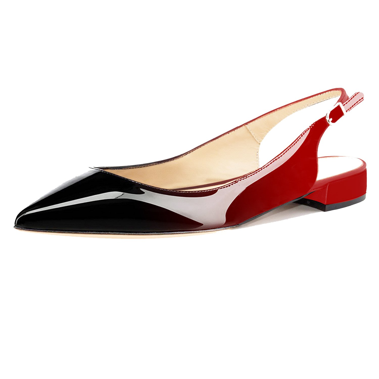 Eldof Women Low Heels Pumps | Pointed Toe Slingback Flat Pumps | 2cm Classic Elegante Court Shoes B07C89K7JK 9.5 B(M) US|Black-red