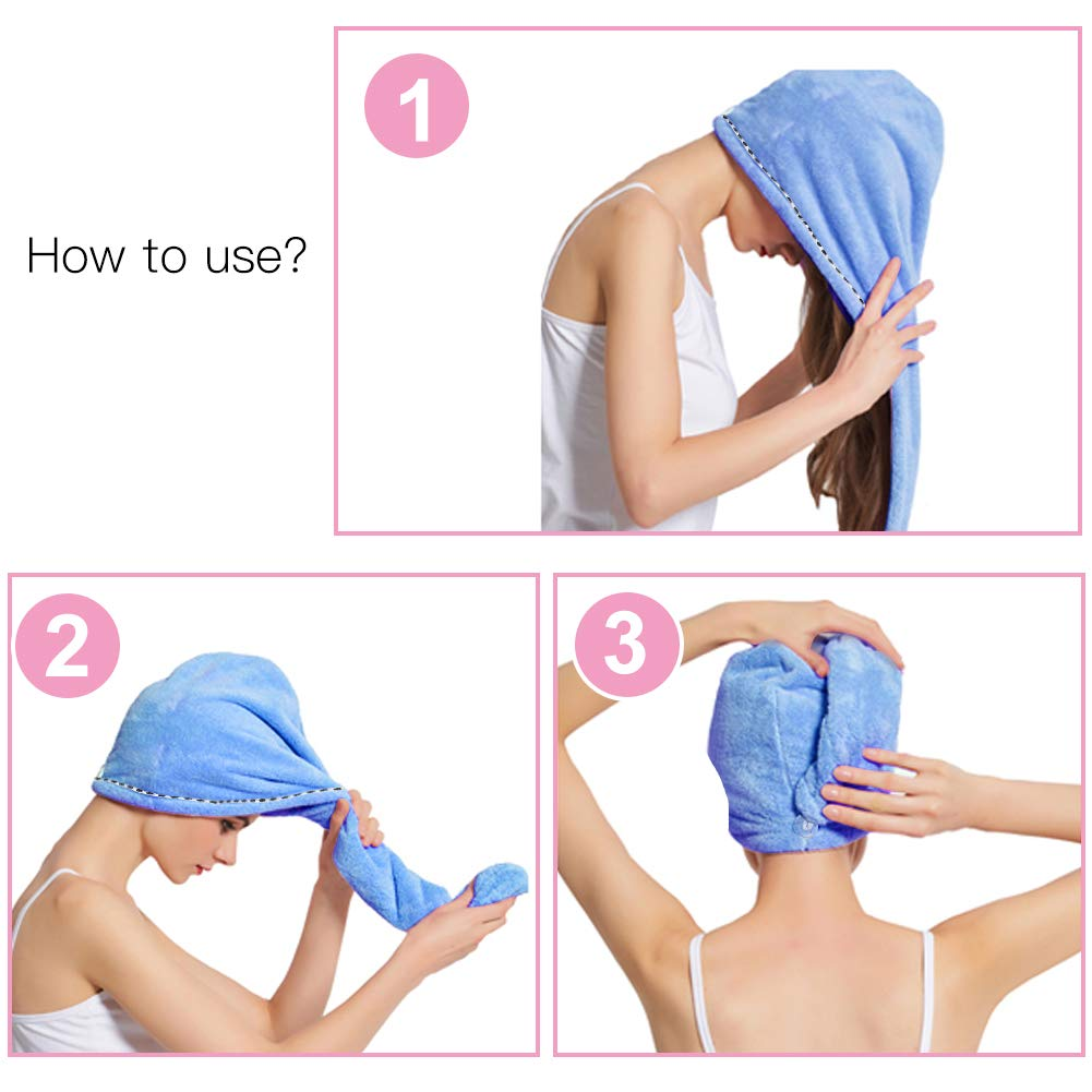 2 Pack Bigger Plus Size Hair Towel Wrap Turban Microfiber Drying Bath Shower Head Towel with Buttons
