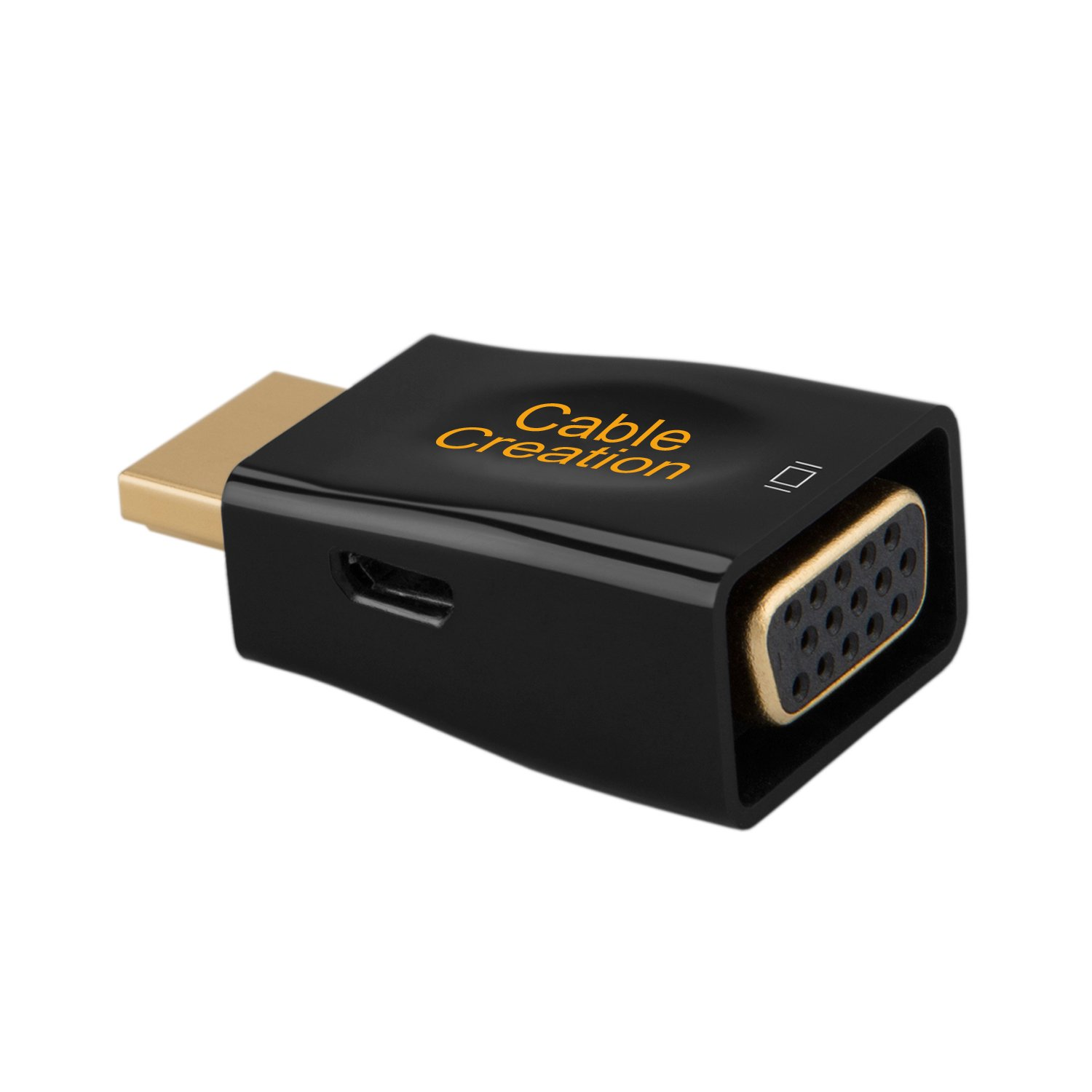 Gold Plated HDMI HDTV to VGA Converter Male to Female Support 1080P Black HDMI to VGA Adapter CableCreation 3-Pack