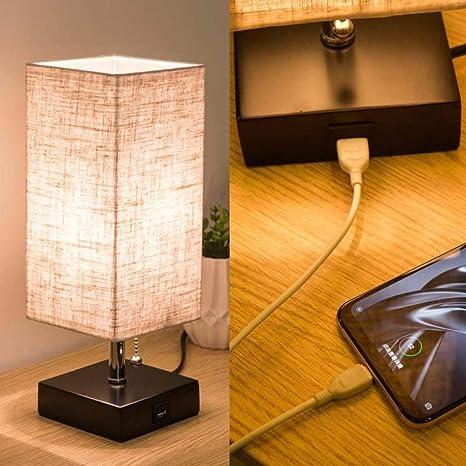 Lámpara Lámpara de mesa de carga para teléfono móvil de lino ...