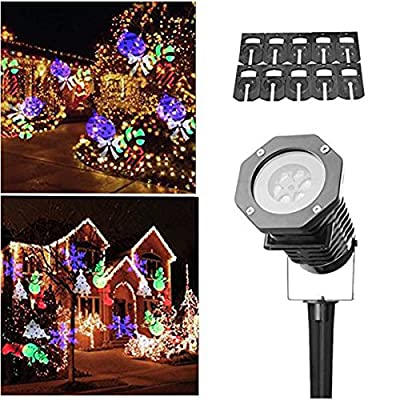 Christmas Light Projector,DRILLPRO Holiday Light Projector Image Motion Projection Landscape Spotlight for Decoration Lighting on Christmas Halloween Holiday Party