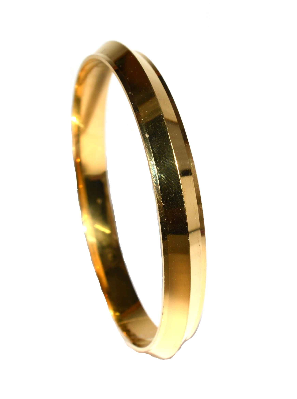 Fabzeel Gold Plated Sikh Punjabi Sardar Kada Bracelet for Men Size 6.6,7,7.3 C.m Avaliable product image