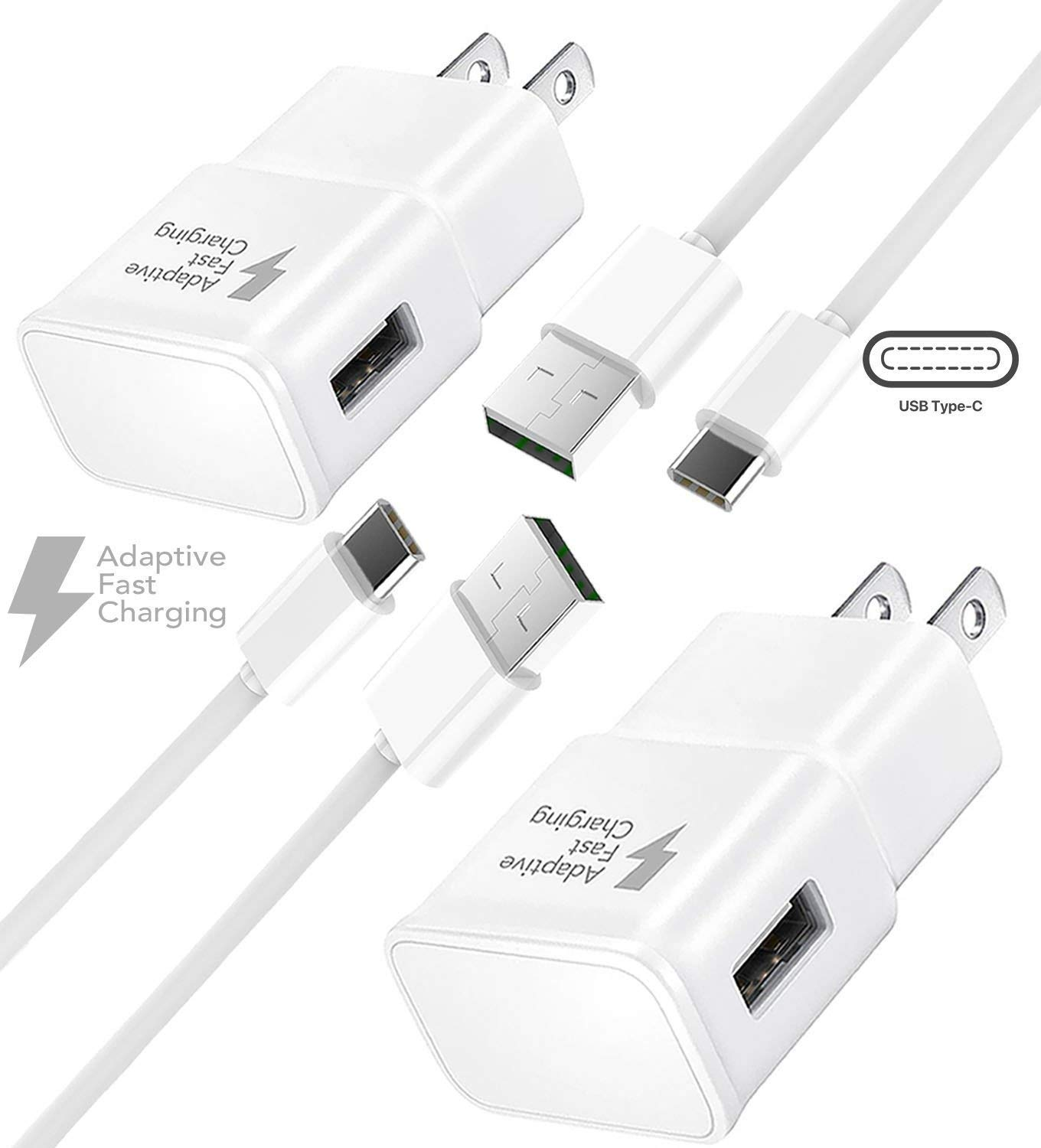 Samsung Galaxy S10. S10e, S10 Plus, Note 9 Fast Wall Charger Set, (2X Wall Chargers + 2X Type-C Cables) by Boxgear Galaxy S9, Galaxy S8, Note 8, S8 Plus, Compatible with Other Samsung Products