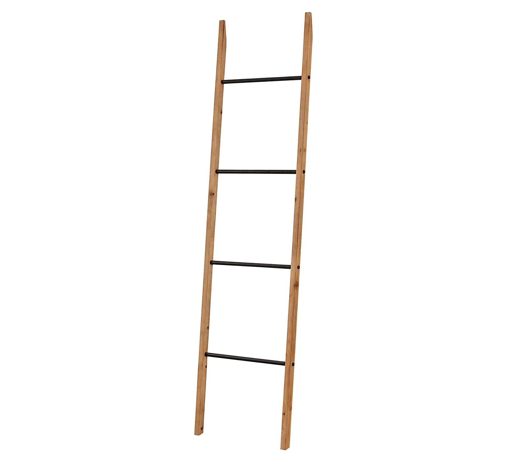 Fir Decorative Blanket Ladder with Iron Rungs - 71.65'' H, Black and Natural Wood Comfy Living Home Décor Furniture Heavy Duty