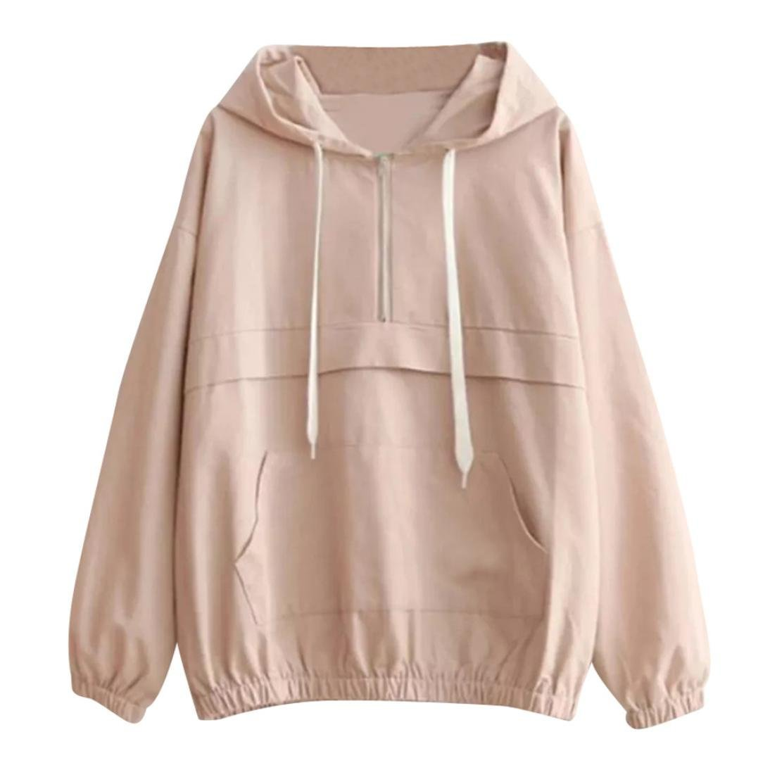 Clearance Thin Sweatshirt, Sttech1 Women Long Sleeve Hooded Sweatshirt Blouse with Zipper Pockets (S, Pink)