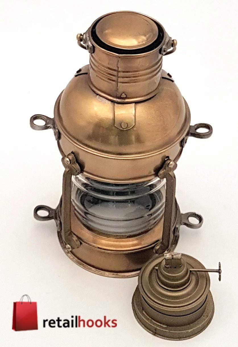 RETAILHOOKS Antique Brass Cargo Vintage Style Reproduction Blizzard Oil Burning 9 Ship Lantern Lamp Leeds Burton Nautical Maritime