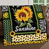 SMLBOO You are My Sunshine Sunflower Fleece Blanket Made Extra Large Size 60 x 80 INCH