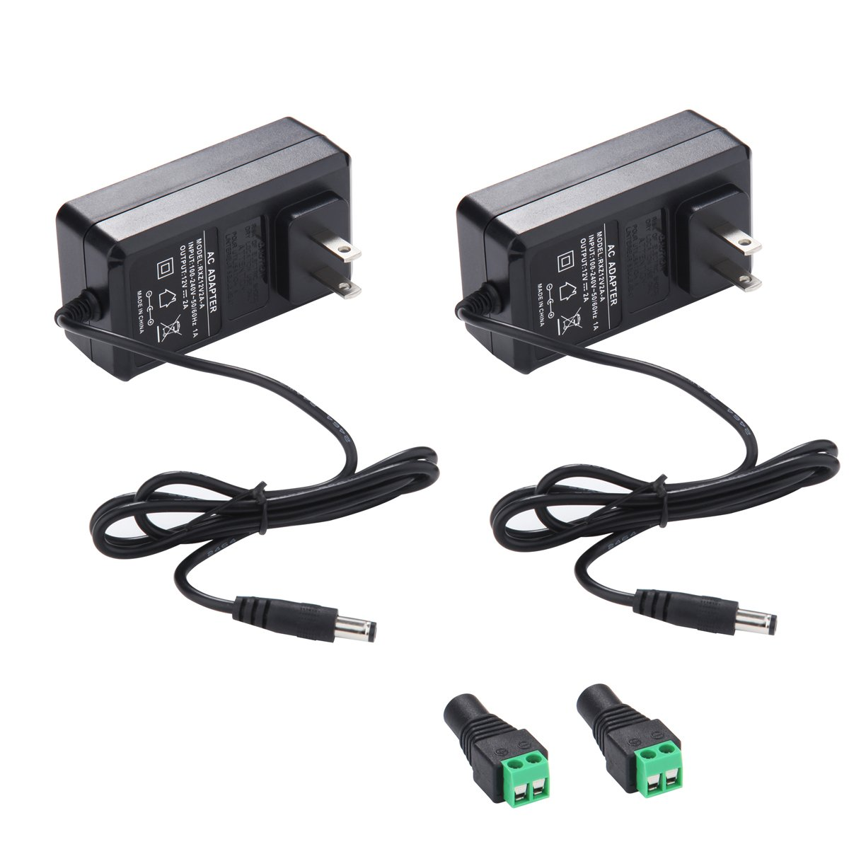 12V 2A Power Supply AC Adapter 2 Pack, AC 100-240V to 12V Transformers, 12 Volt DC Switching Power Supply for 3528 Led Strip Lights, CCTV Camera and Other 12 V Applications with DC Connectors Free