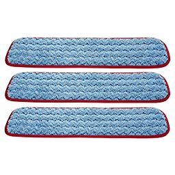 Rubbermaid Commercial Q410 HYGEN Microfiber Room Mop Pad, Damp, Single-Sided, 18-Inch, (Pack of 3) (Red)