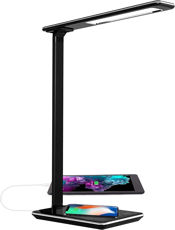 Lámpara Escritorio LED Táctil - Qi Rápida Cargador Inalámbrico para todos los Teléfonos Qi y Puerto USB, Lámparas de Mesa Regulable Plegable, 5 Niveles De Brillo, 4 Colors