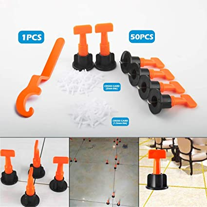 50pcs Tile Leveling System Kit With Special Wrench Tile Spacer Leveler Plastic Reusable Floor Wall Construction Tools Tools & Home Improvement