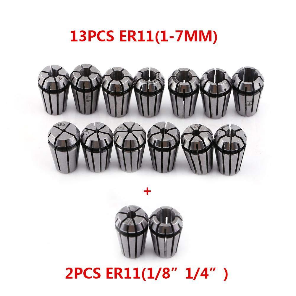 TOPINCN ER11 Spring Collet Chuck per macchina per incisione CNC e tornio per fresatura Set di pinze da 15 pz