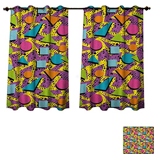 PriceTextile Vintage Blackout Thermal Backed Curtains for Living Room Funky Geometric 80s Memphis Fashion Style Colorful Figures Pop Art Inspired Pattern Customized Curtains Multicolor Size W63 xL63