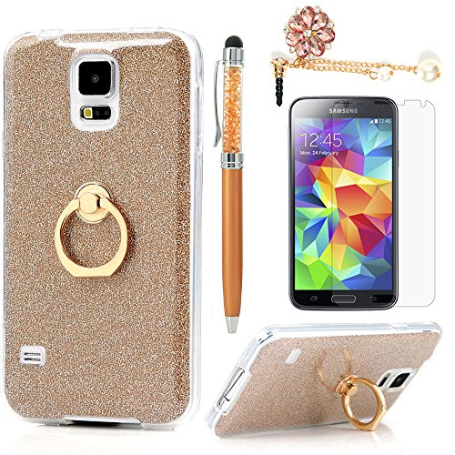 Price comparison product image Badalink Galaxy S5 Case 360 Degree Rotating Ring Holder Kickstand Shockproof Drop Protection TPU Flexible Bumper with Detachable Shiny Shell Slim-Fit Protective Cover for Samsung Galaxy S5 - Gold