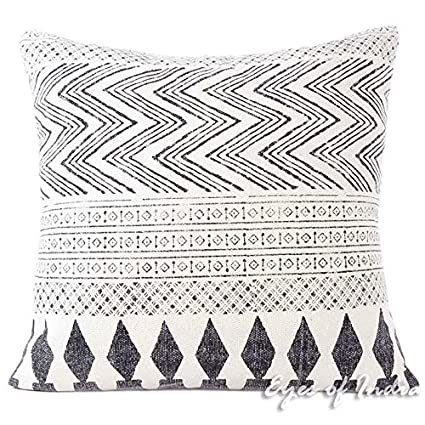 Marvelous Eyes Of India 28 White Black Dhurrie Printed Cushion Sofa Couch Pillow Cover Colorful Throw Indian Bohemian Boho Cover Only Pdpeps Interior Chair Design Pdpepsorg