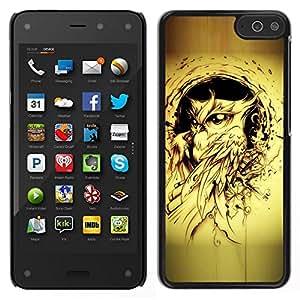 EJOY---Cubierta de la caja de protección para la piel dura ** Amazon Fire Phone ** --pájaro búho pintura de tinta negro tatuaje amarilla